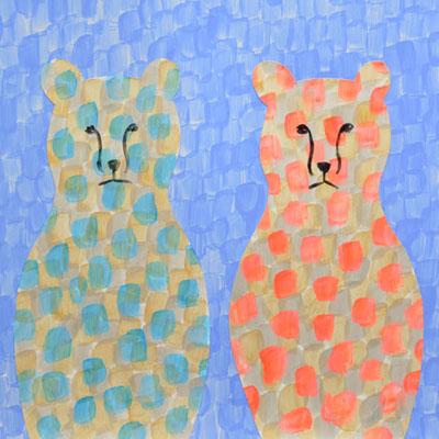 クマのアクリルガッシュのイラスト・Yurinoko