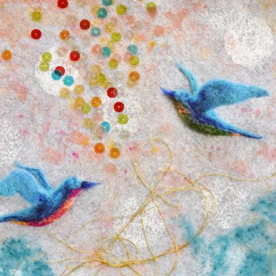 フェルト作家Yurinokoの鳥とビーズのイラスト