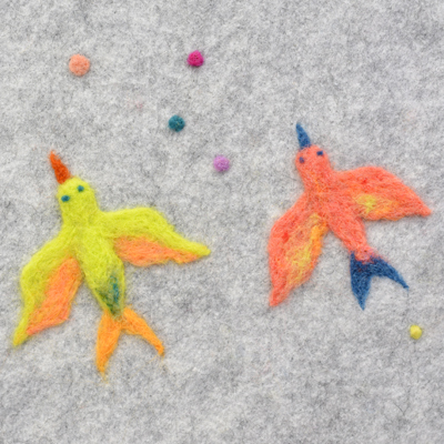 フェルト作家Yurinokoの鳥のイラスト