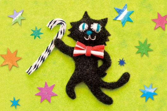 フェルト作家Yurinokoの黒猫のイラスト