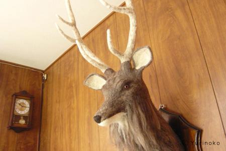フェルとの鹿の剥製・フェルト作家Yurinokoの立体イラスト