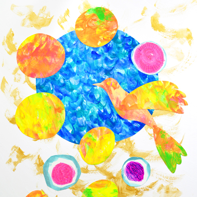 卵と鳥のアクリルガッシュのイラスト・Yurinoko