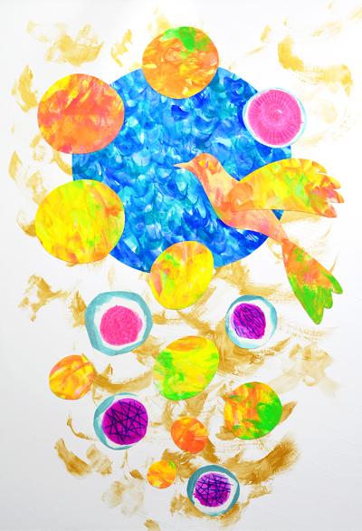 卵と鳥のアクリルガッシュのイラストです