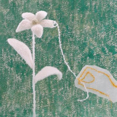 花と手・フェルト作家Yurinokoの立体イラスト