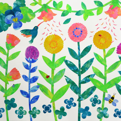 花とハチドリのアクリルガッシュのイラスト・Yurinoko