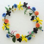 野の花のリース・フェルト作家Yurinokoの立体作品