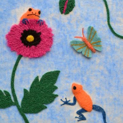 フェルト作家Yurinokoの花とカエルのイラスト