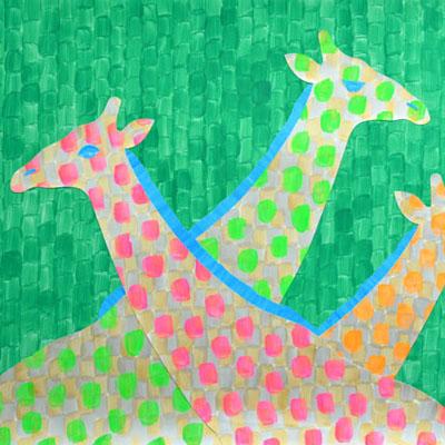 キリンのアクリルガッシュのイラスト・Yurinoko