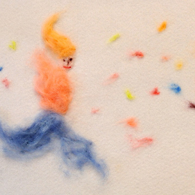 フェルト作家Yurinokoのジャンプする女の子のイラスト