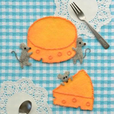 フェルト作家Yurinokoのねずみとチーズのイラスト