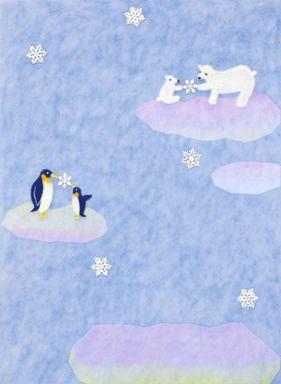 シロクマとペンギン・フェルト作家Yurinokoのイラスト