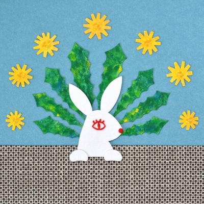 ウサギとタンポポ・フェルトイラスト・フェルト作家Yurinokoのイラスト