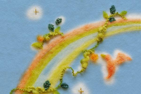 フェルト作家Yurinokoの鳥と虹のイラスト