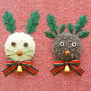 ウサギとトナカイ・フェルト作家Yurinokoのクリスマスイラスト