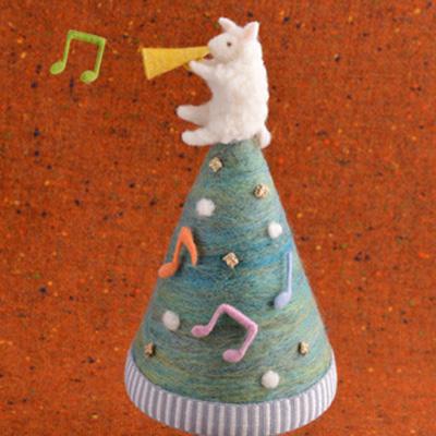 羊とツリー・フェルト作家Yurinokoの立体イラスト