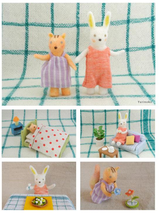 小学館美的・フェルト作家Yurinokoのウサギとリスの立体イラスト