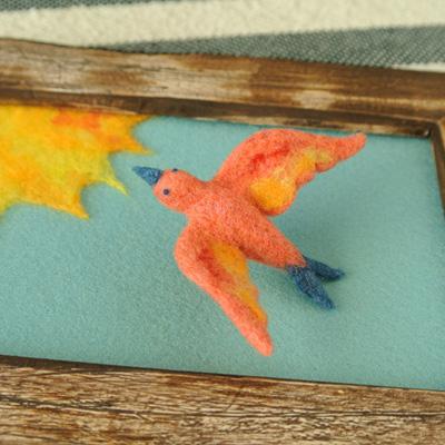 ピンクの鳥・フェルト作家Yurinokoの立体イラスト