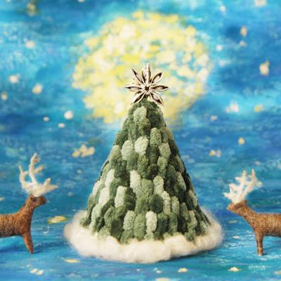 クリスマスツリーとトナカイ・フェルト作家Yurinokoの立体イラスト