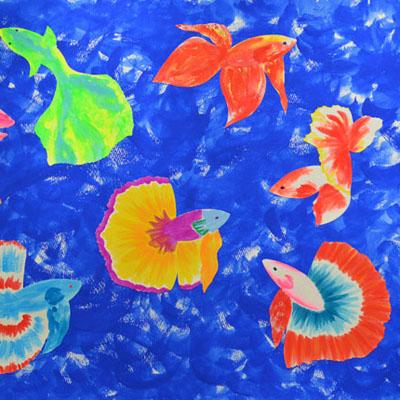 熱帯魚のアクリルガッシュのイラスト・Yurinoko