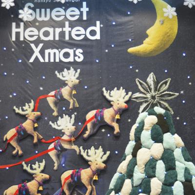 阪急三番街トナカイ・フェルト作家Yurinokoのクリスマスの立体イラスト